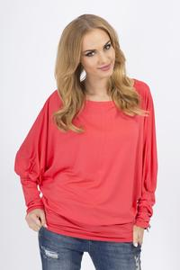 Coral Casual Long Bat Sleeves Blouse
