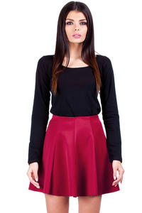 Red Flared Light Pleates Girlish Mini Skirt