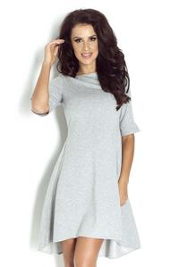 Grey Dipped Hem Casual Dress