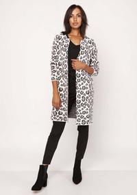 White Grey Leopard Long Jacket