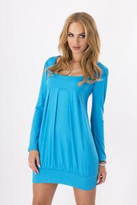 Lazur Blue Long Sleeved Square Neckline Mini Dress