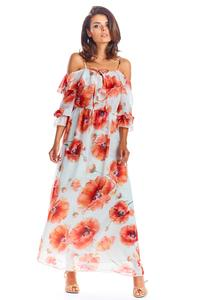 Maxi Dress Red Flowers Sleeveless