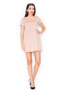Pink Diamond Stitched Shift Dress with Rolled Up Cuffs