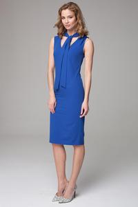 Blue Slim Fit Midi Dress with Self Tie Scarf