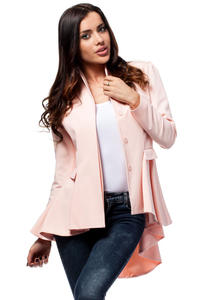 Powder Pink Seam Blazer with Cascading Back Hemline