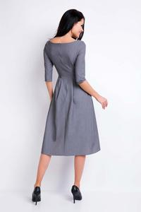 Gray Midi Formal Dress with Wide Bottom