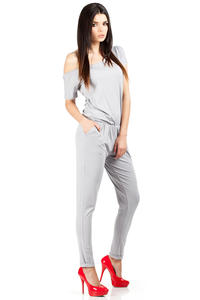 Grey Off-shoulder and Long Legged Jumpsuit