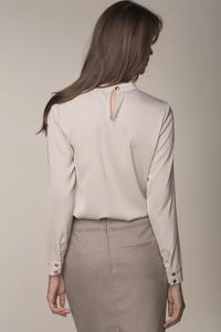 Beige Stand-up Collar Chic Blouse