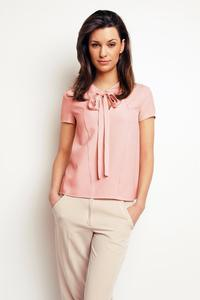 Salmon Pink Self Tie Bow Short Sleeves Blouse
