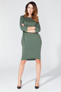 Green Classic Plain 3/4 Sleeves Knee Length Casual Dress