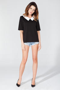 Black Short Sleeves Contrasting Collar Blouse