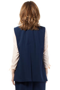 Dark Blue Ladies Vest with Pockets and Belt