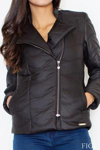 Black Short Light Padding Asymetrical Zip Jacket