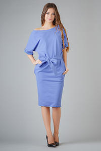 Purple Loose Neckline Self Tie Belt Casual Dress