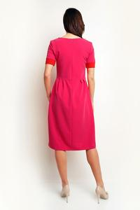 Pink Midi Dress with Piping at The Sleeves