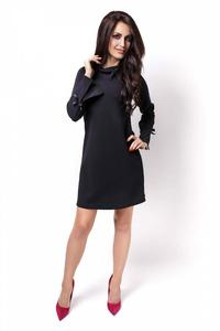 Black Flared Mini Dress with Bows