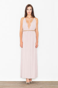 Pink Maxi Long Greek Style Deep Neckline Dress