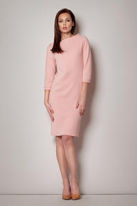 Light Pink High Neck Textured Shift Dress with 3/4 Sleeves