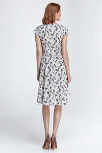 Ecru Floral Pattern Flared Midi Dress