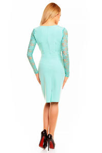 Mint Elegant Lace Sleeves Slim Waist Evening Dress