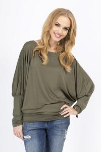 Khaki Casual Long Bat Sleeves Blouse