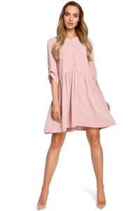 Powder Pink Buttons Closure Mini Dress