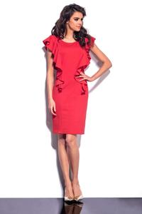 Red Frilled Midi Dress
