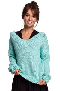 Classic Sweater with V-neck on the front and back - Mint