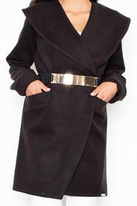 Black Big Collar Short Coat with Gold Belt