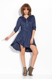 Dark Blue Rolled-up Sleeves Shirts Style Dress