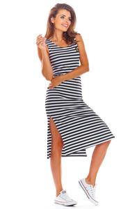 Black Cotton Fitted Dress with Stripes