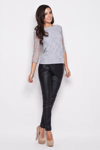Gray Bateau Neckline Floral Lace Blouse with 3/4 Sleeves