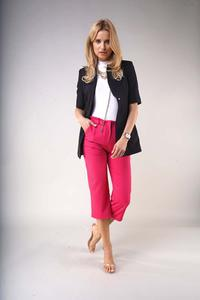One Button Black Blazer with Short Sleeves