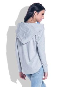 Grey&Blue Comfy Hooded Blouse