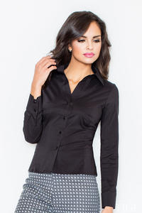 Collared Black Shirt with Top Stitch Bust Seams