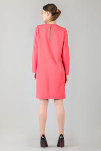 Coral Shift Dress with Bateau Neckline and Back Gathered Waist