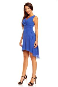 Blue Dipped Back Wrap Front Coctail Dress