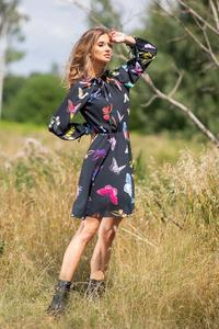 Mini Dress 3/4 Sleeves Butterfly Printed
