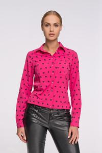 Amaranth Casual Ladies Shirt with Hearts Pattern