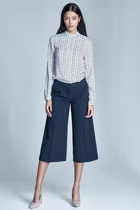 Dark Blue Elegant Bermuda Pants