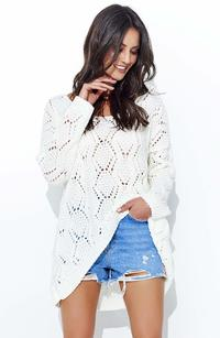 Ecru Loose Sweater with a Wide Neckline