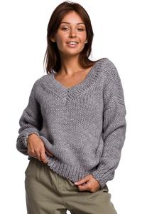 Classic Sweater with V-neck on the front and back - Gray