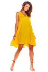 Yellow Loose Sleeveless Frill Dress