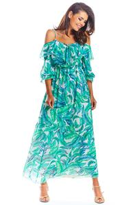 Maxi Dress Gren Flowers Sleeveless
