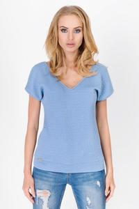 Light Blue Classic V-Neck Patterned Fabric T-shirt