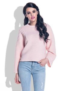 Pink Short Sweater with Wide Sleeves