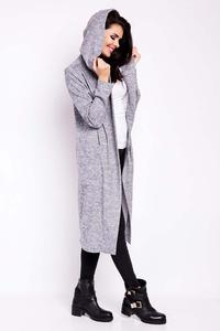 Grey Long Hooded Jacket