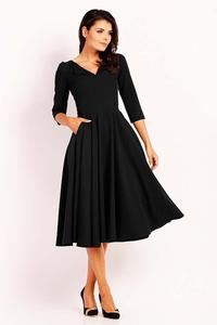 Black Dress Flared Midi With Collar