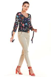Navy Blouse in Flowers with Binding on Sleeves