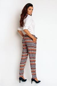 Boho Pattern Elegant Bussiess Style Belted Pants